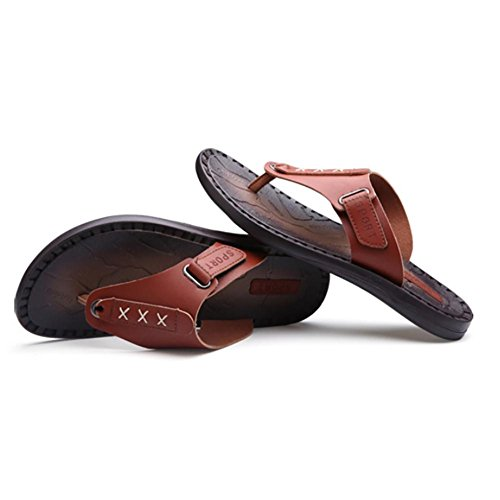 SHANGXIAN Chaussons d'été hommes véritable cuir Classic mode Casual Anti-ensabotage tongs Brown