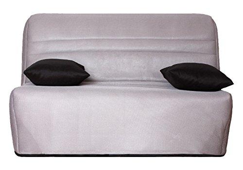 CANAPES TISSUS Capri Banquette Bz Tissu, Gris, 142 x 96 x 90 cm