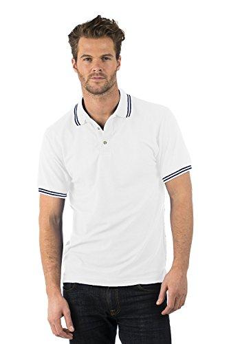 Bruntwood Aufgeld Gespitzter Polo Hemd - Premium Tipped Polo - Herren & Damen - 220GSM - Polyester/Baumwolle Weiß/Marine Blau