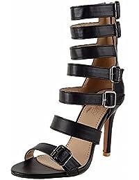 Tamaño grande zapatos de verano, sandalias de tacón alto, redondo y tacones altos talones,negro,42