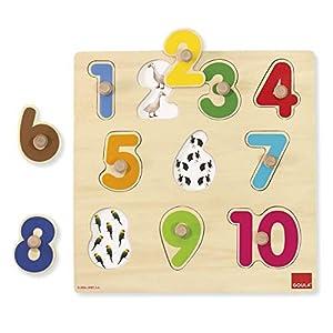 Goula- Numbers Puzzle Encajes Madera números Goula28x28 (Diset 53074)