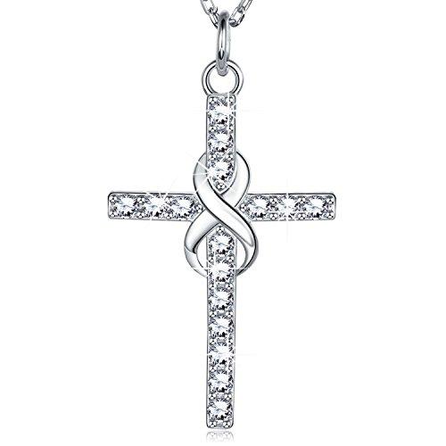 Billie Bijoux 925er Sterling Silber Unendlichkeit Kreuz Halskette CZ Diamant Weißgold überzogene Anhänger Frauen Mädchen Geschenk für Graduation Geburtstag Weihnachten Tag 18 ''