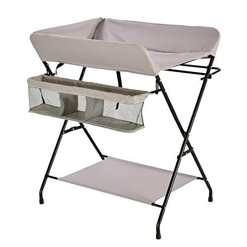 Tables à langer Table à langer pliable avec rangements, enfants se pliant Toddler Infant Nursery Commode Style Jambes Croisées, Blanc Argenté