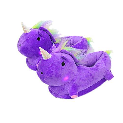 Pantofole unicorno nhsunray calde animali disegno di peluche pantofole fantasia morbido pantofole slip on compatibile taglia unica per adulti uomo donna ragazze (viola)