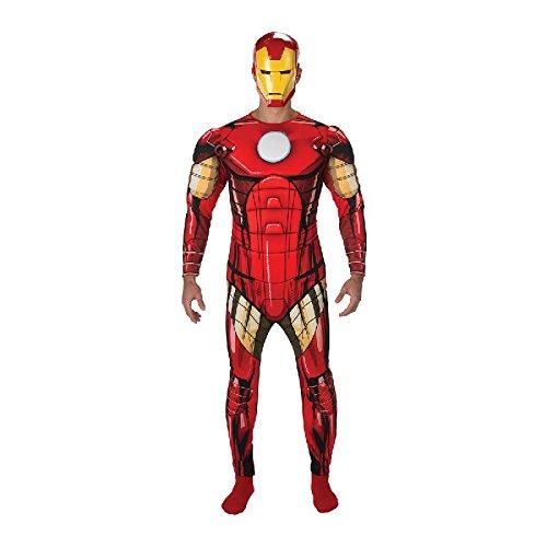Iron Man Herren Kostüm Overall mit Muskel-Brust und Maske Gr.XL