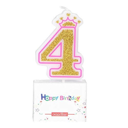 KEYREN Nuevas Niñas Niños Fiesta de Velas de Cumpleaños Corona Libre de Humo Pastel de Velas Números Edad 0-8 Decoración de Pasteles Topper (4)