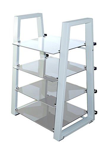 MountRight HiFi en verre Design Etagère/support étagère – 4 (cadre blanc – Verre Clair)