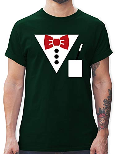 Karneval & Fasching - Magier Kostüm - L - Dunkelgrün - L190 - Herren T-Shirt und Männer Tshirt