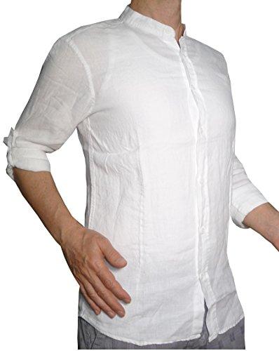 Fantasy camicia puro lino taglio avvitato slim collo coreana manica lunga leggera fresca estiva uomo ragazzo (xl 48 it uomo vita 94-96, bianco)