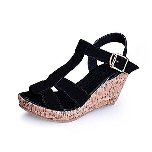 Damen Durchgängies Plateau Sandalen Mit Keilabsatz Schnalle Einfach Schwarz