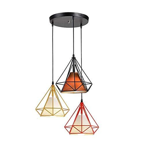 Tao-Miy Beleuchtung Polygon Loft Art Deco Vintage Draht Anhänger Küche Kronleuchter, 3-Flammen Persönlichkeit Kronleuchter -