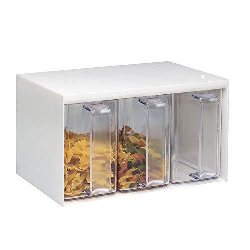 Westmark Schüttengehäuse mit 3 Schütten, Füllmenge je Schütte: 1 Liter, Kunststoff, 25,5 x 17,8 x 14,4 cm, Roma, Weiß/Transparent, 73052260