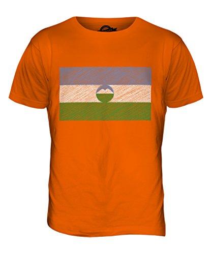 CandyMix Cabardino-Balcaria Bandiera Scarabocchio T-Shirt da Uomo Maglietta Arancione