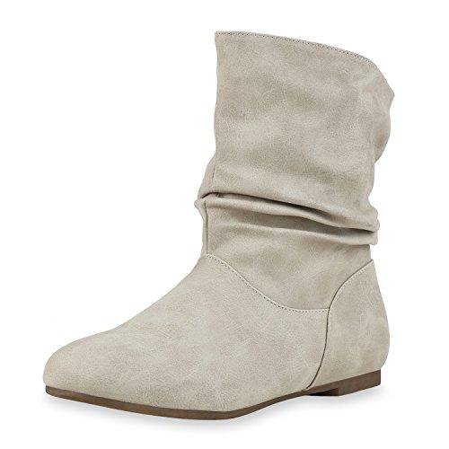 Mulheres Ankle Boots Escorregar Botas De Couro Óptica Creme Sapatos Confortáveis