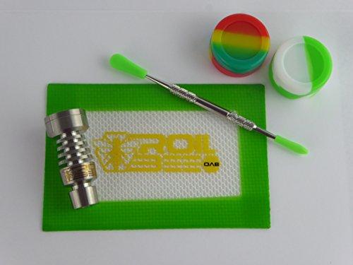 Mini DAB Set domeless 14/18mm Stufe 2Ti Titan Dosen Nail + Silikon Matte, Silikon und HQ SS Sanftes Werkzeug