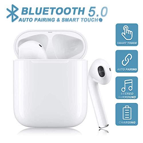 Auriculares inalámbricos, Auriculares Bluetooth 5.0, Bluetooth Deporte con Micrófono Reducción de Ruido CVC 8.0 Cascos, Auriculares Inalambricos Bluetooth para Apple AirPods iPhone/Samsung/Android