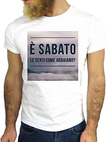 T SHIRT JODE Z1404 SABATO SENTI COME ABBAIANO ITALIAN FUNNY COOL FASHION NICE GGG24 BIANCA - WHITE