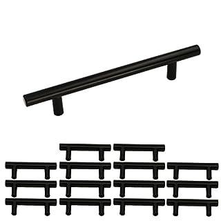 15 Stück Schwarz Küchenschrank Türgriffe Schrank ziehen LS201BK96 Möbelgriffe 96mm Schwarz T Stangengriff Hohle Edelstahl Möbelgriffe Relinggriff Inklusive Schrauben