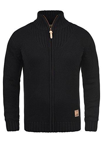 SOLID Poul Herren Strickjacke Cardigan mit Stehkragen aus hochwertiger Baumwollmischung, Größe:M, Farbe:Black (9000)