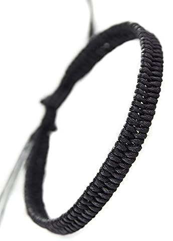 bracelet tresse homme femme noir fin mode biker rock