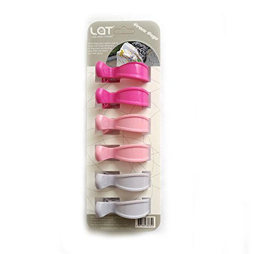 LAT Klammer-Clips (6er-Paket) zur Befestigung von Musselintüchern, Abdeckungen, Decken oder Spielzeug an Kinderwagen oder Autositz