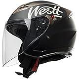 Westt® Krank · Casco de moto negro mate · Incluye gafas de sol (doble visor) · ECE certificado · incluye bolsa · ideal para scooter choper moto · Urbano Moto motocicleta Urban Biker