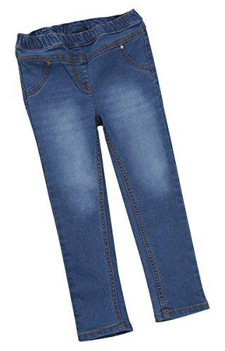Bambini/ragazze elastico vita denim jeans / pantaloni ~ 3 mesi to 6 anni - blu denim, 5-6 anni