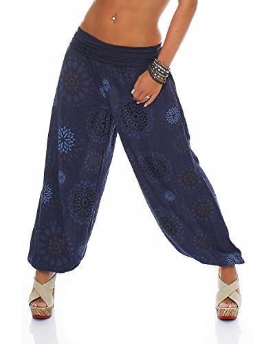ZARMEXX Damen Pumphose Pluderhose Harem-Stil Sommerhose all over Print Freizeithose Aladinhose Hose One Size (Einheitsgröße: Gr. 36-42, navy)