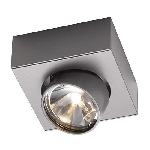 Wittenberg wi-ab-125-1e Einzelstrahler, grau metallic DB702 pulverbeschichtet LxBxH 13,1x13,1x5cm Abstrahlwinkel 15° elektronischer Trafo Konverter -