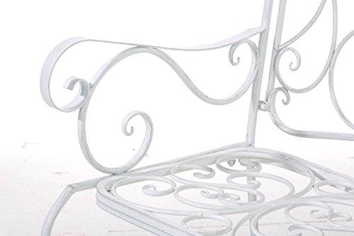 CLP Metall Gartenbank TUAN, 2-er Sitz-Bank Garten, Eisen lackiert, Design nostalgisch antik, 105 x 50 cm Antik Weiß - 6