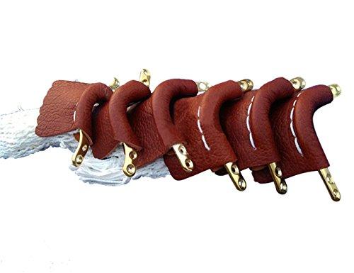 Pool Tasche (Scott Edward Pool Snooker Tisch Leder Taschen, Billard Leder Net Taschen, mit golden-plated Fransen Finish, Bügeleisen, Baumwolle Net Tasche, braun, 6 Stück)