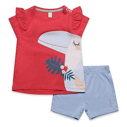 ESPRIT KIDS Baby-Mädchen Set T-Shirt+SHO Bekleidungsset, Rot (Watermelon 324), (Herstellergröße: 74)