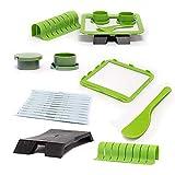 Descrizione: Colore: verde 7pezzi Materiale: PP + acciaio inossidabile Contenuto della confezione: 1X Sushi Making Kit