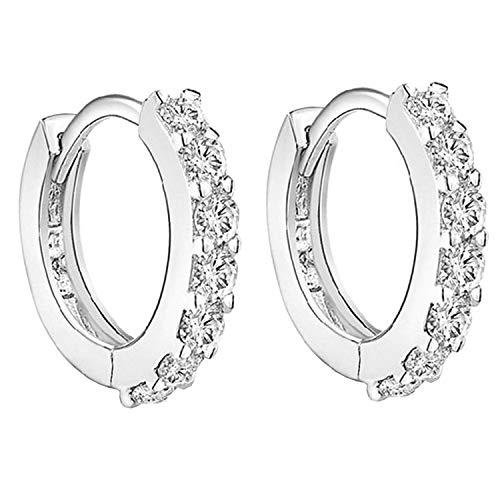 LÖB Damen Creolen 925 Silber mit Zirkonia Strass Steinen Ohrringe Huggie Brautschmuck Rund Klein Weiß 12mm