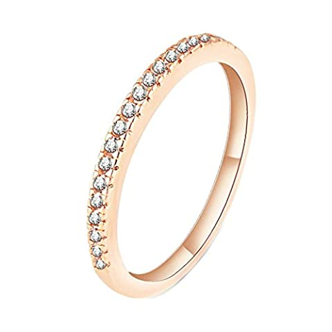 Daesar Vergoldet Ring Damen Eheringe Rose Gold Pave Zirkonia Ring Ewigkeit Weiß Zirkonia Ring Größe:57 (18.1)