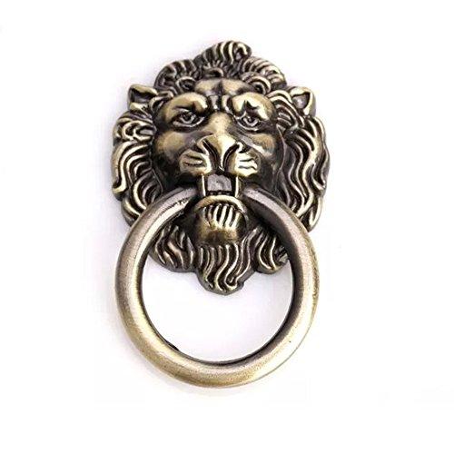10er Antike Bronze Karikatur Löwe Kopf Schrank Schublade Knöpfe Griffe Schublade zieht Lion Head Tür Knöpfe - Lion Griff