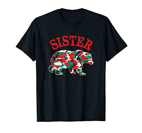 Christmas Camo Sister Bear Matching Camouflage Pajama Family T-Shirt (T-shirt Woodland Kids Camouflage)