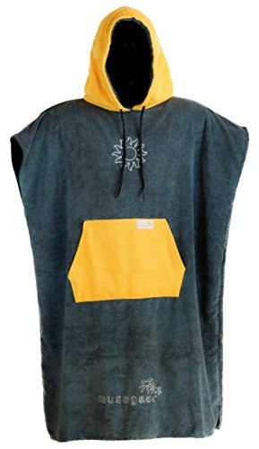 musegear Surf Poncho Erwachsene - Mobile Umkleide - One Size - Orange/Anthrazit – Umkleidehilfe und Kuscheliger Bademantel in Einem - Modisch und Nützlich