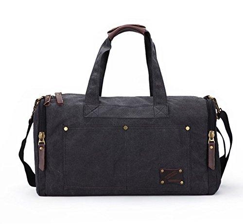 Retro tela fine settimana notte Borsone da viaggio borsa tracolla borsa borsa a tracolla, Black (nero) - ZLMBK08 Black