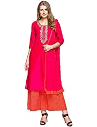 Stop By Shoppers Stop Womens Round Neck Solid Embroidered Palazzo Suit