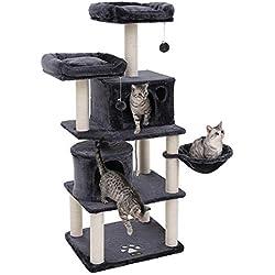 FEANDREA Árbol para Gatos, Rascador para Gatos con Postes Recubiertos de Sisal, Varias Plataformas, Centro de Actividades para Gatos PCT90G