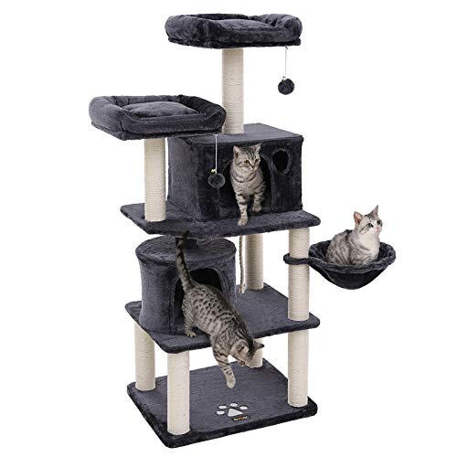 Fabricado en tablero de partículas de excelente calidad y diseñado con las piezas de entretenimiento, este FEANDREA rascador para gatos es una combinación perfecta de la buena calidad y multifuncionalidad. Con los postes revestidos en cuerdas de sisa...