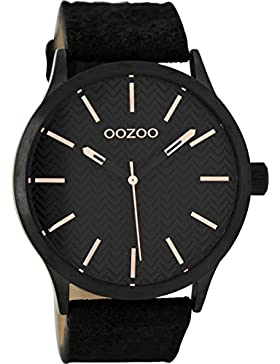 Oozoo Damenuhr mit Lederband 45 MM Black/Schwarz/Schwarz C9019