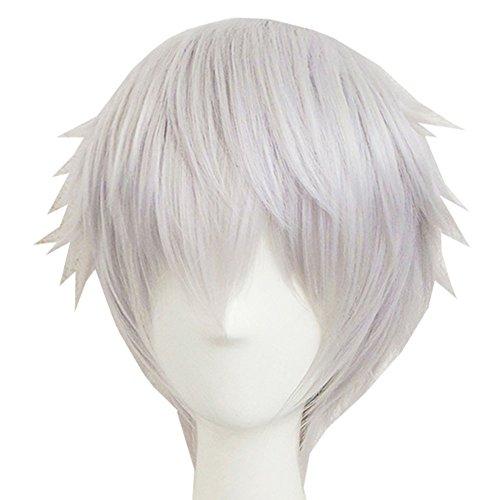 Xcoser Nakigitsune Perücke Touken Ranbu Cosplay Kostüm Kurz Silber Weißes Haar (Nakigitsune Kostüm)