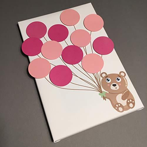 Bärchen Leinwand ideales Geschenk, Gästebuch, Erinnerung, Deko, Idee, Andenken zur Geburt, Taufe, Babyparty, Baby Shower in Rosa für Mädchen