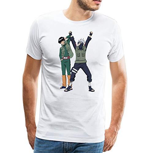 Anime Herren T-Shirt Kakashi and Guy Road Drucken Weiß Sommer T-Shirt für Männer M