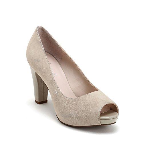 Alesya by scarpe&scarpe - scarpe col tacco spuntate, in camoscio - 39,0, beige