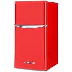 Klarstein Monroe Red • Combiné • Réfrigérateur-congélateur • Économe • Look rétro • Volume de 61 litres • Réglable sur 5 niveaux • 0-10 °C • Bruit réduit • Rouge