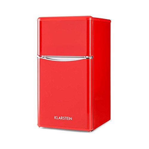 Klarstein Monroe Red - Combiné, Réfrigérateur-congélateur, Économe, Look rétro, Volume de 61 litres, Réglable sur 5 niveaux, 0-10 °C, Bruit réduit, Rouge