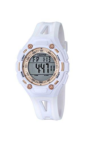 Calypso-Reloj Digital Unisex con LCD Pantalla Digital Dial y Correa de plástico Color Blanco K5666/1...